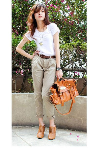 white t-shirt with light brown chinos with cuff