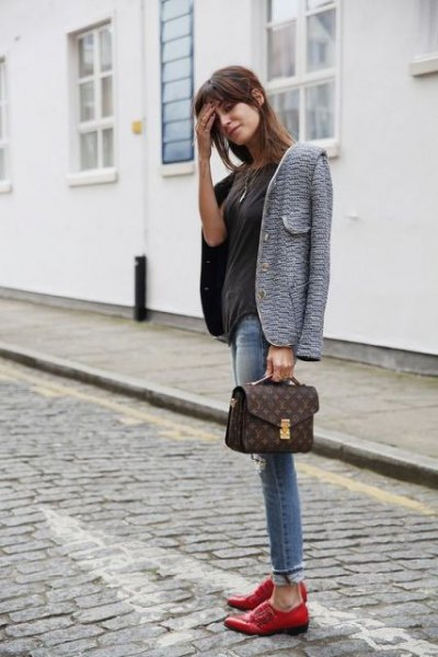 gray tweed blazer with black t-shirt and brown evening shoes