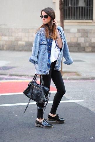 blue boyfriend denim jacket with black oxford leather shoes