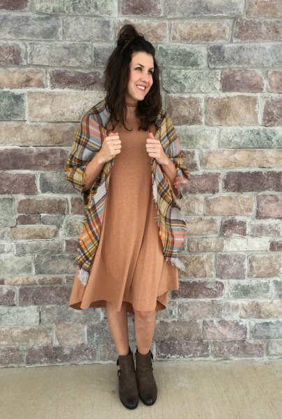 brown midi swing dress with checkered blanket scarf