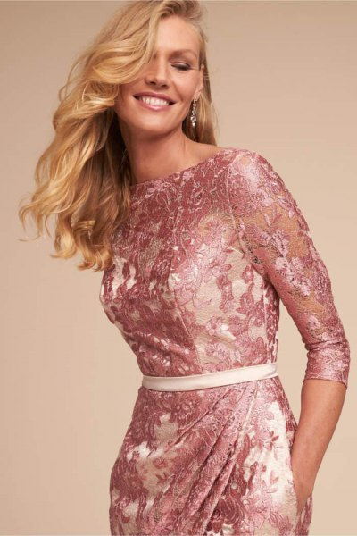 Pink lace bodycon dress with white belt
