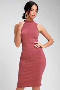 Mocked neck bodycon midi dress with light pink open toe heels