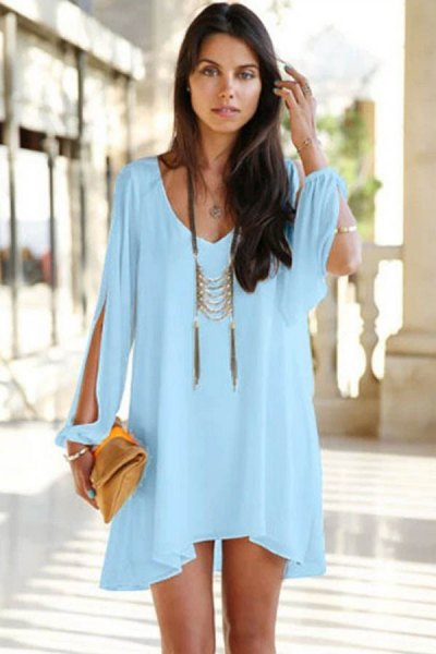 Mini light blue long sleeve dress with boho statement necklace