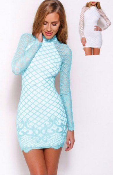 Light blue and white, crisscross printed, long-sleeved, form-fitting mini dress
