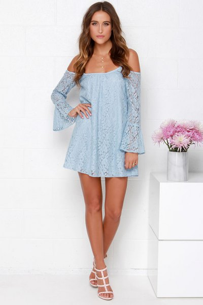 strapless light blue mini swing dress with bell sleeves