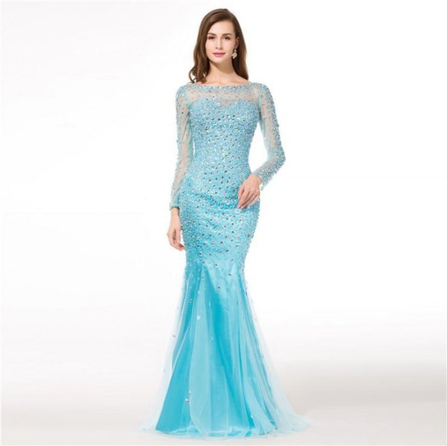 light blue, semi-transparent, long-sleeved, floor-length mermaid dress