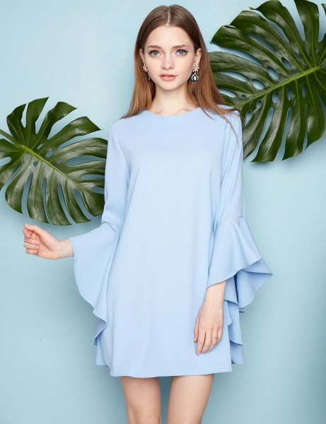 sky blue mini chiffon shift dress with long bell sleeves