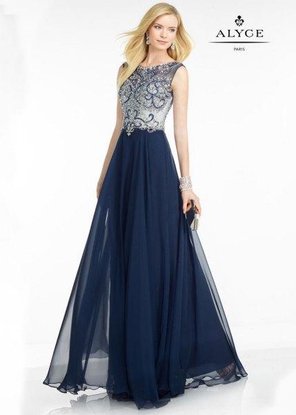 Dark blue and silver sleeveless floor-length chiffon dress
