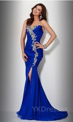 Royal blue and silver sweetheart neckline high slit mermaid dress