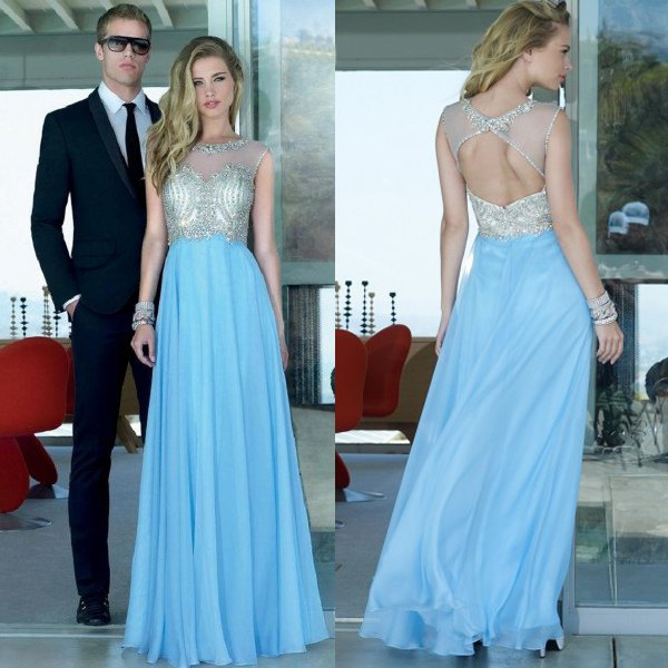 silver and light blue, flowing maxi dress with open back
