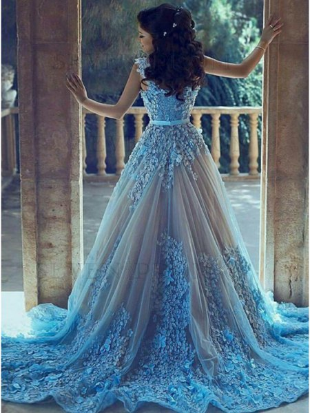 light blue and silver wedding dress with belt