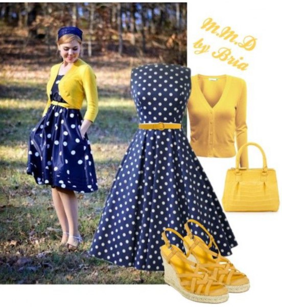 blue dotted dress with yellow short knitted sweater