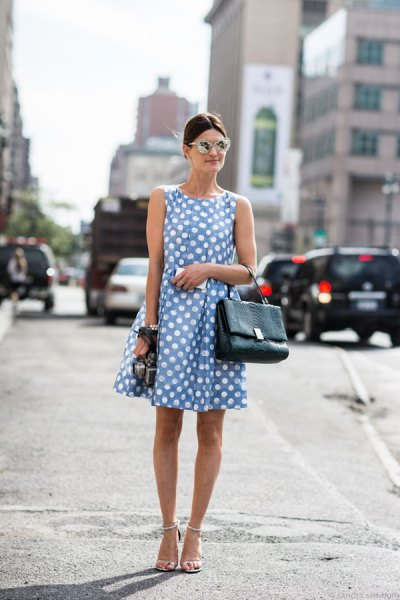 Light blue sleeveless polka dot mini swing dress with open toe heels
