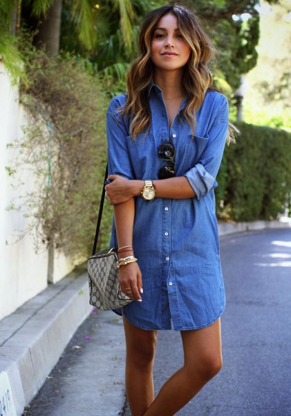 Mini denim shirt dress with blue button and green checkered wallet
