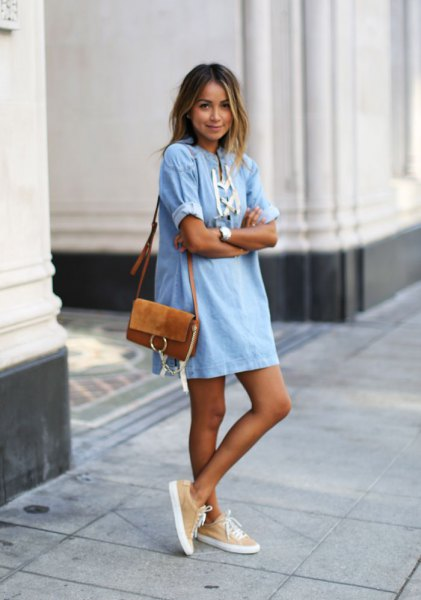 light blue and white mini shift denim dress with brown suede pocket