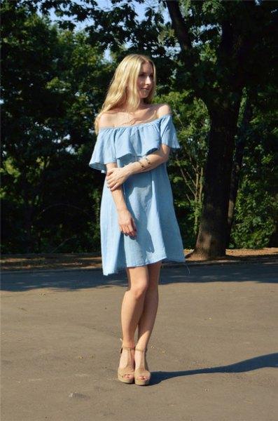 off-the-shoulder light blue mini shift denim dress with sandals
