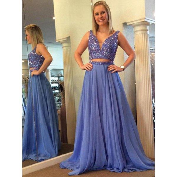 light blue two-piece floor-length pleated chiffon dress