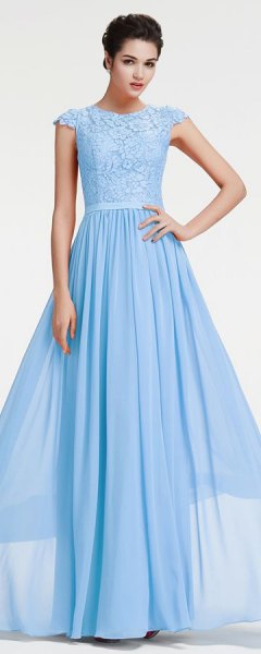 light sky blue cap sleeves fit and flare floor length evening dress