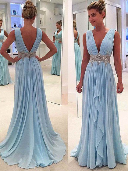 Pleats light blue ball gown with deep v-neck and belt