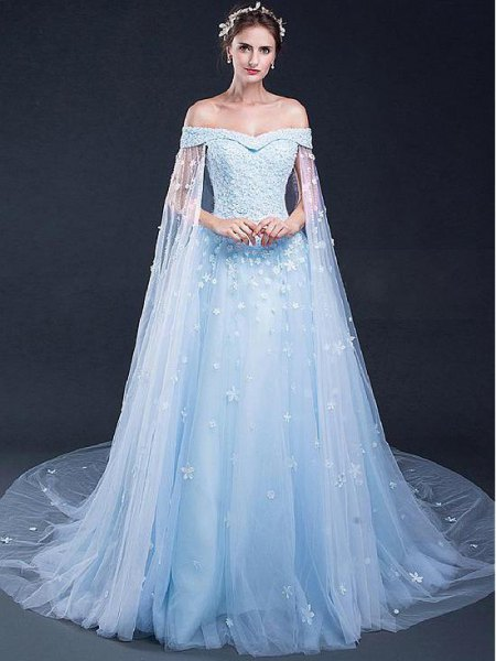light blue chiffon dress flowing from the shoulder