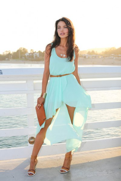 Sleeveless, aqua blue, flowing midi dress with a scoop neck and scoop neck