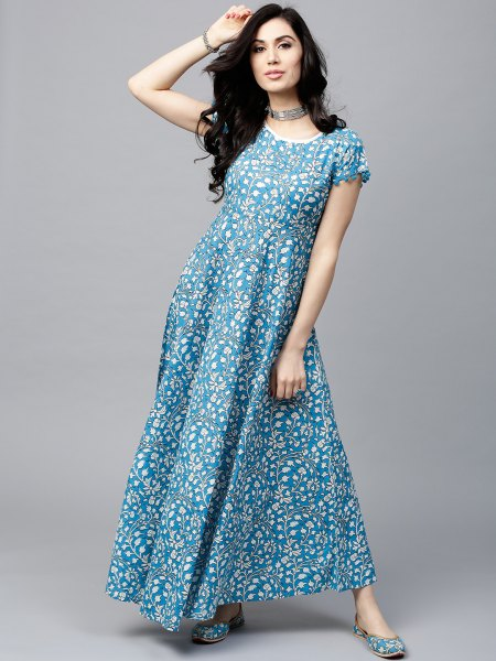 aqua blue and white polka dot maxi dress with padding and collar