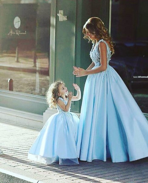 Sky blue fit and flare lace and silk pleated maxi dress