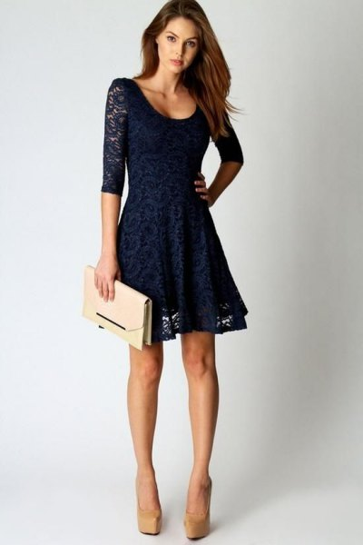 half sleeve with scoop neck and flared night blue mini dress made of lace