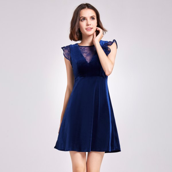 deep blue fit with cap sleeves and flared mini velvet