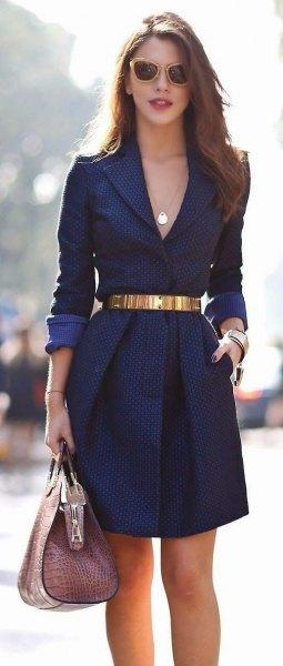 Midnight blue mini blazer dress with deep v-neck and belt