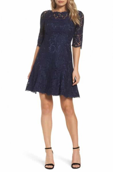 Lace fit and flare dark dress with open toe ankle strap heels