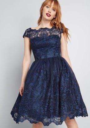 Cap sleeve fit and flare knee-length dark blue dress
