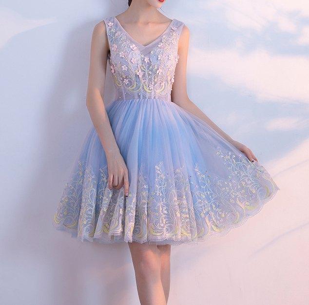 sleeveless fit and flared light blue chiffon mini dress