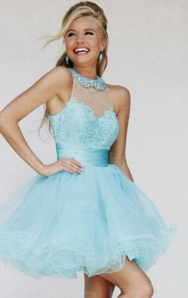 semi-transparent sequins with collar and flared mini dress made of flared tulle
