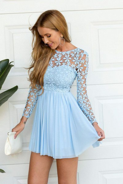 light blue long sleeve fit and flared short pleated dress