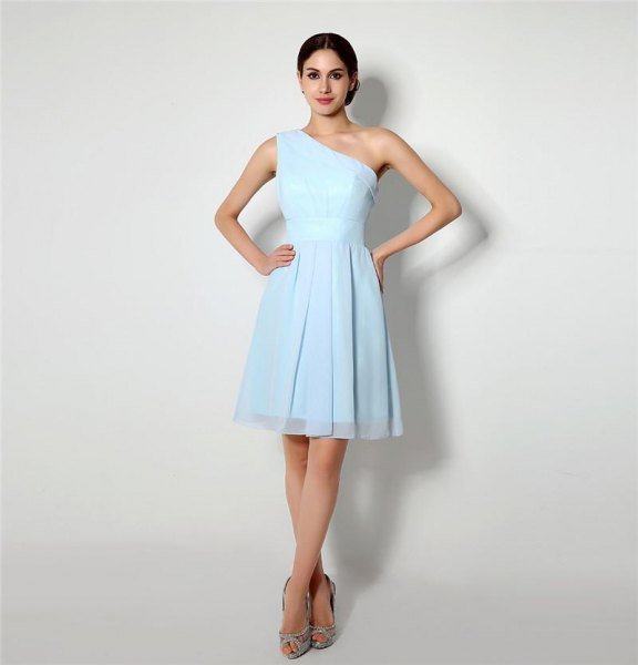 One shoulder fit and flare mini chiffon light blue dress