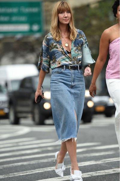 gray aloha shirt with high waisted denim midi straight but skirt