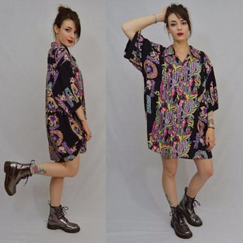 black floral Aloha shirt dress and ankle boots