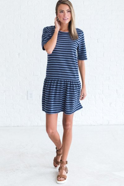 dark and light blue striped t-shirt dress with brown sandals