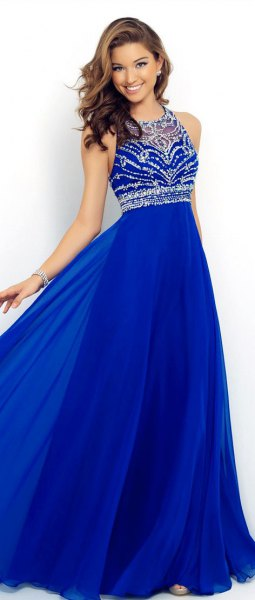 royal blue and silver sequin fit and flared halter dress