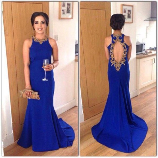 sleeveless royal blue dress with open back