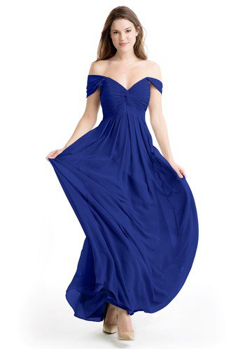 Sweetheart neckline fit and flare royal blue dress