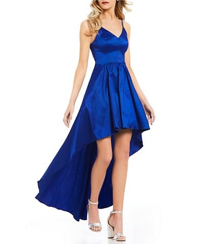 royal blue silk with V-neck and high, deep dress
