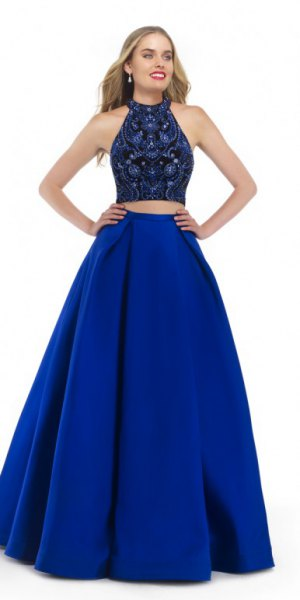 two-piece, floor-length dress in black and royal blue