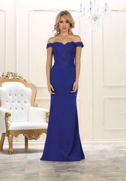 Sweetheart Neckline Mermaid Royal Blue Floor Length Dress