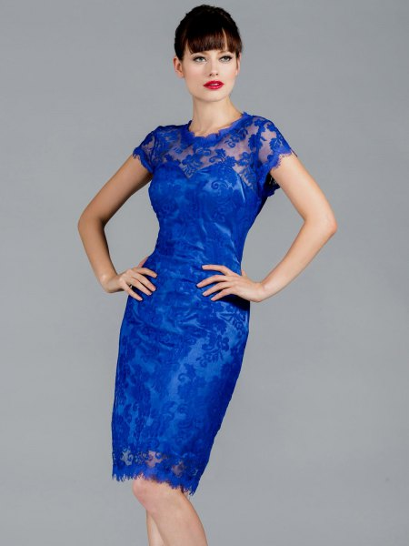 semi-transparent figure-hugging midi dress in royal blue with cap sleeves