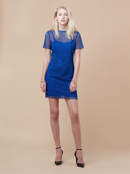 semi-transparent blue mini shift dress with pointed toe heels with black ankle strap