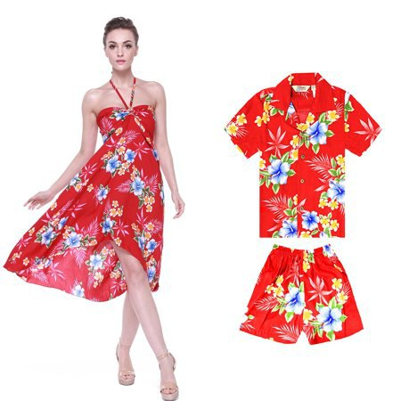 red and blue hawaiian floral printed midi airy luau dress