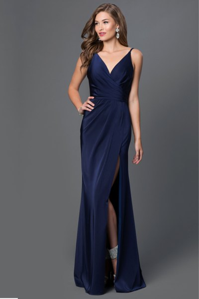 High split navy blue maxi silk dress with V-neck