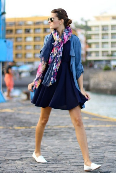Navy mini swing dress with blue casual blazer